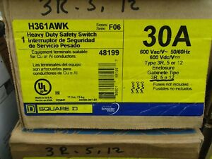 Square D H361awk Series F 30 Amp 600 Volt Fusible Nema 12 Disconnect New