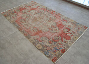 Vintage Distressed Area Rug Hand Knotted Faded Turkish Oushak Rug 4 3 X 7 5