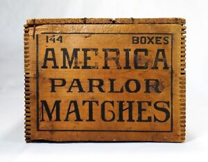 Early 20th C American Parlor Matches Wood Box Crate C E Crouse