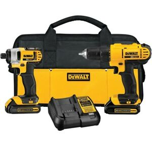Dewalt20 volt Max Lithium ion Cordless 2 drill driver Combo Kit With 2 Chargers
