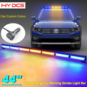 44 126w Cob Led Emergency Warning Traffic Advisor Strobe Light Bar Amber Blue