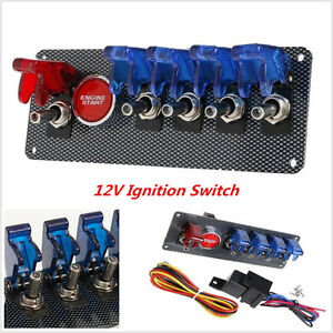 Universal Car 12v Racing Ignition Switch 4 Blue 1 Red Led Toggle Button Panel