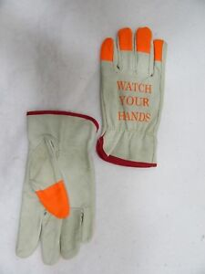 12 Pr Small Ironwear Leather Work Gloves With Orange Tips