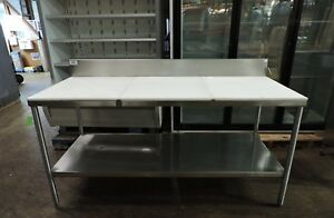 Commercial Poly Top Work Table With Backsplash Undershelf 72x30
