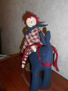 Primitive Country Raggedy Ann Doll Riding Big Navy Blue Rabbit On Distress Base