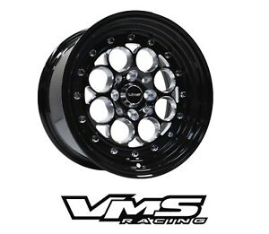 X2 Vms Racing Revolver 15x8 Black Lip Drag Rims Wheels For Acura Integra