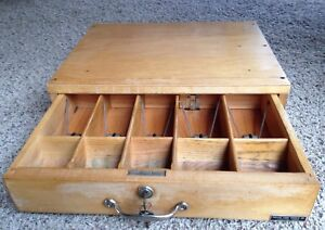 Vintage Wooden Indiana Cash Drawer With Key Bill Weights Bell High Quality