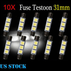 10pcs 29mm 31mm 3smd 6641 Fuse Car Led Sun Visor Vanity Mirror Light Bulbs 6641