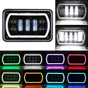 4x6 Rgb Led Cree Light Bulbs Drl Hi lo Sealed Beam Headlamp Headlights Car