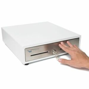 Manual Push Open Cash Drawer With Ringing Bell 4 Bill Slots 5 Coin Trays New