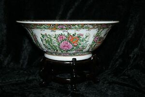 Chinese Rose Medallion Bowl With Makers Mark