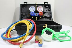 Refrigeration Gauge Manifold Set W Hoses Hvac R134a Charging testing Ac Can Tap