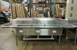 Commercial 3 compartment Sink With 2 Drainboards