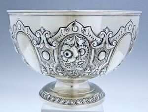 English Sterling Silver Bowl Chased Floral Decoration 21 Oz
