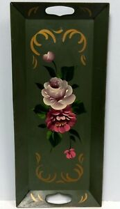 Long Vintage Green Tole Tray Hand Painted Pink And Red Roses 21 1 2