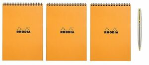 Rhodia Wirebound Pad 8 25x11 75 Lined Orange 3 count Bundle With A Ple New