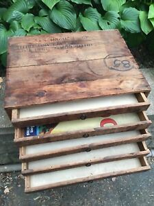 Wooden Cabinet Industrial File Library Storage School Drawer Map Ohio Phone Vtg