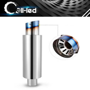 3 Inlet 4 Outlet Round High Performance Jdm Muffler Exhaust Tip W Silencer