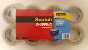 Scotch Heavy Duty 3m Clear Shipping Packing Tape 8 Rolls Total 436 Yd