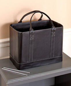Black Chic File Organizer Tote Portable Document Folder Carrier Faux Leather