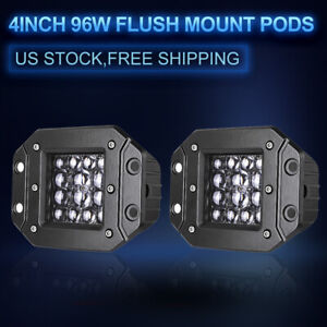 Pair Flush Mount Backup Reverse Front Rear Bumper Led Lights Cube Pods Fog Lamp