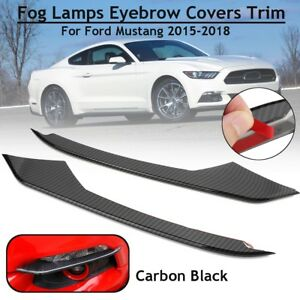 Carbon Fiber Front Fog Light Eyebrow Cover Trim For Ford Mustang 15 16 2017 2018