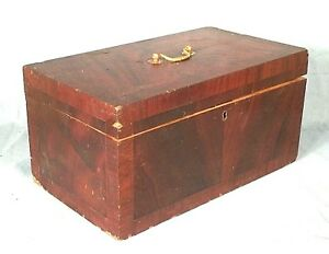 Antique American Federal Period Cross Banded Mahogany Document Box
