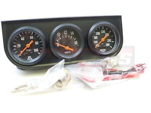 Universal 2 Black Oil Pressure Water Volt Triple 3 Gauge Set Kit Panel Hot Rod