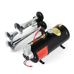 New 150psi 3l 12v Air Compressor With 3 Trumpet Chrome Train Air Horn Truck