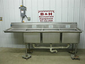 98 1 2 Heavy Duty 3 Bowl Compartment Stainless Steel Sink W Left Drain Board