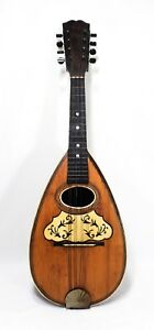 Italian Late 19th Early 20th C Ant Inlaid Rosewood Spruce Bowl Back Mandolin