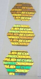 100 To 1000 Gold Hexagon Product Protection Hologram Label Sticker Seals