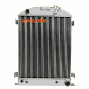 3 Row Aluminum Radiator Fits 1933 1934 Ford grill shells Or Chevy V8 engine