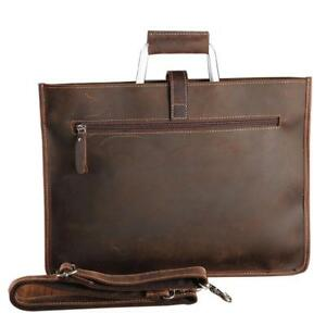 Genuine Nature Leather File Document With Inner Pocket Office Business Bags