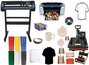 34 Laser Vinyl Plotter Cutter 8in1 Combo Heat Press printer sublimation Refils