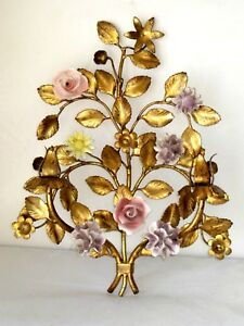 15 Vintage Italian Gilded Tole Iron Porcelain Flowers Sconce Wall Hanging