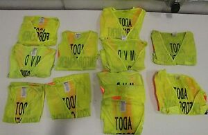 Lot Of 11 3x Medium 2x Large 4x Xl 1x 2xl 1x3xl Vizcon Lime Yellow Safety Vest
