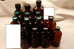 Lot Of 14 Amber 250ml 500ml 1l Glass Media Reagent Bottle Screw Cap Lab Uv