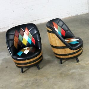 Mid Century Whiskey Barrel Swivel Barrel Chairs By Brothers Of Kentucky A Pair