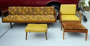 Mid Century Modern Living Room Set Couch Chair Ottoman