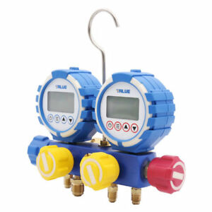 Digital Manifold Gauge Double Gauge 3 Valves Vacuum Temperature 1 4 sae Hose