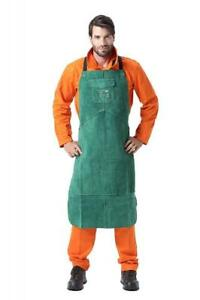 Allyprotect Green Length 42 Flame Heat Resistant Leather Bib Apron With