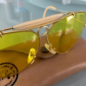 Vintage Gold Bullet Ray Ban Bausch & Lomb Aviator Yellow Shooting Glasses & Case