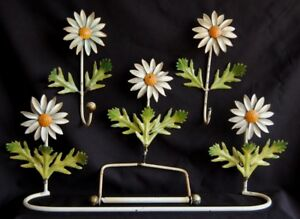 Antique Italy Enamel Flowers Toilet Paper Holder Towel Bar Hook Bathroom Fixture