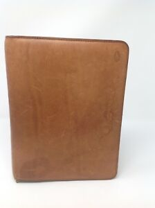 Hartmann Brown Leather Zip Around Planner Tablet Cover Organizer D4217