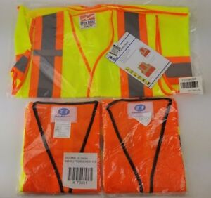 Open Road Durable Safety Lot Of 3 Safety Vest Yellow Orange 1 L xl 2 Xl