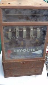 Vintage Ray o lite Flashlight And Battery Metal Storage Bin
