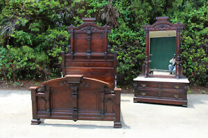 Magnificent High Style Burl Walnut Victorian Orig Finish Marble Top Bedroom Set