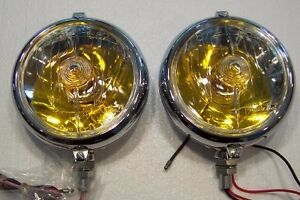 Marchal Fog Lights 672 682 Amber Colored 12 Volt Bulbs New Reproductions Pair