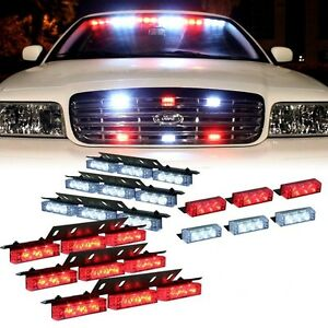Vehicle Truck Led Strobe Lights Grill Dash Deck Red White Warning Car Light Set